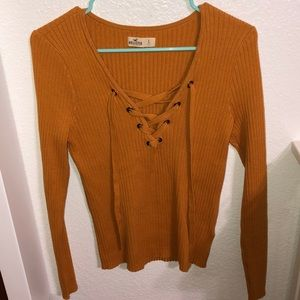 Mustard yellow lace up sweater top